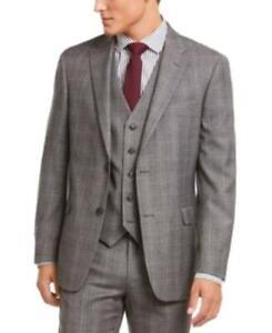 MSRP $450 Tommy Hilfiger Modern-Fit Stretch Plaid Suit Jacket Gray Size 44 Short