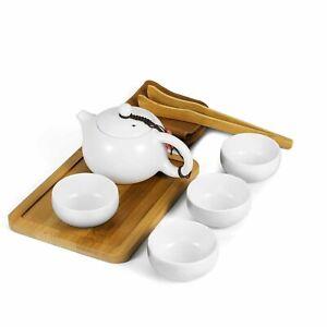 Chinese Japanese Vintage Kungfu Gongfu Tea Portable Travel Teapot Set White