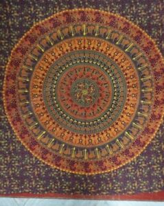 Authentic Mandala Queen Tapestry Handmade Cotton Bedspread Bohemian Wall Hanging