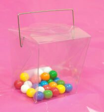 "24~2-1/4 x 3-1/2 x 3"" Clear Pvc Plastic Chinese Take Out Wire Handle Favor Boxes"