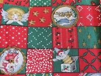 """Vintage Peter Pan Fabric - Red, Green & Gold Squares w/ Christmas Pics 44"""" x 84"""""""