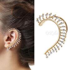 Top Gold Celebs Crystal Rhinestone Ear Cuff Wrap Clip On Earring Studs Punk Rock