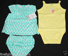 Carters Baby Girl 3 Piece Diaper Cover Set Yellow Green Size 6M new with tags