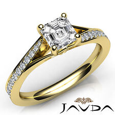 Asscher Diamond Lustful Engagement Pre-Set Ring GIA F VS1 18k Yellow Gold 1.07Ct