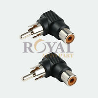 2 Pcs RCA right angle connector plug adapters 90 degree male to female