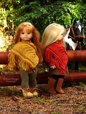 "Knitting Pattern Platanus Poncho w/Fingerless-Mitts for 18"" American Girl dolls"