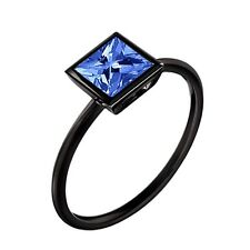 Cut Blue Sapphire Solitaire Ring 5 Women's Black Gold Finish 1.00 Carat Princess