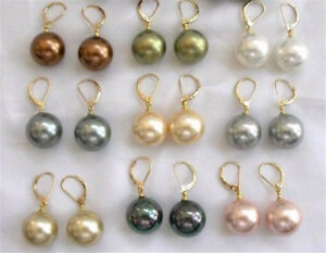 Wholesale Beautiful 9 Pairs 10mm Multi-color Shell Pearl Gold Dangle Earring AAA