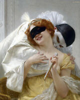 Dream-art Oil painting Guillaume Seignac - Pierrot's Embrace - Masquerade canvas