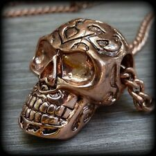 Victorian Steampunk Sugar Skull necklace Zombie Day of the dead pendant charm