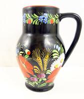 Vintage Chodovia Czechoslovakia Art Deco Hand Painted Pitcher Poppy Wheat Daisy