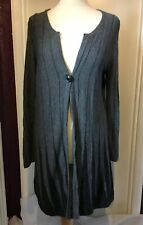 PER UNA Long Grey Cardigan Vertical Stripe Long Sleeve Button UK 16 Cashmere Mix
