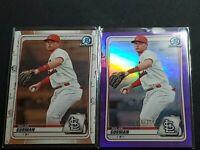 2020 Bowman Chrome Nolan Gorman Purple /250 + Base St Louis Cardinals