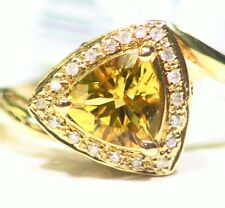1.10CT 14K Solid Gold Natural Beryl White Diamond Vintage Engagement Ring Deco
