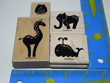 Stampin Up Animal Stories Rubber Stamp Set of 4 Whale Elephant Giraffe Owl