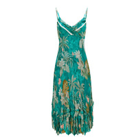 Tropical Print Crinkled Soft Sheen Fabric Cami Strap Tiered Hemline Summer Dress
