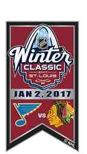 2017 NHL WINTER CLASSIC BANNER PIN CHICAGO BLACKHAWKS VS ST. LOUIS BLUES IN HAND