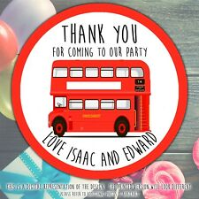 Personalised Big Red Bus Birthday Party stickers round labels party cone sheet