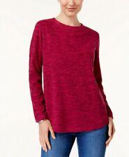 Karen Scott Medium Crew Neck Fleece Sweatshirt Top Moon Red Long Sleeve BNWT