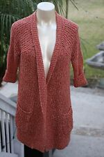 Lucky Brand Orange Rust and Beige Knit Long Open Wrap Cardigan Sweater Pockets L