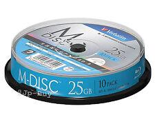 1000 Years Archival Verbatim M-Disc Bluray 25GB BD-R 4x Speed Inkjet Printable