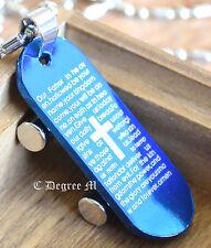 361L Stainless Steel Blue Skateboard Cross Pendant Chain Necklace Unisex Boy Man