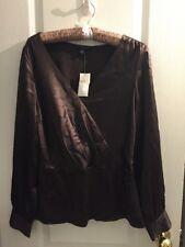 NWT Banana Republic Brown Silk Peplum Shirt Size M