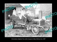 OLD POSTCARD SIZE PHOTO CHECKENDON ENGLAND, THE LOVEGROVE DAIRY CAR c1907
