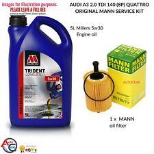 AUDI A3 2.0 TDi 140 (8P) QUATTRO MANN SERVICE KIT 5L 5W30 OIL + MANN OIL FILTER