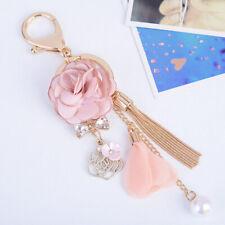 Rose Flower Crystal Bow Chain Tassel Keychain Key Ring Bag Pendant Charm Jewelry