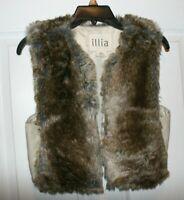 Anthropologie Illia Vegan Artio Faux Fur Vest Brown Tan Sleeveless Size Small