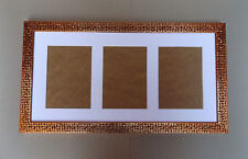 "Copper Mosaic Finish Photo Frame with Triple Aperture Mount for 7x5/5x7"" Photos"