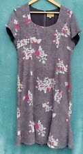 PAUL COSTELLO Dress Size UK 14 US 10 Grey Floral Lace Fit & Flare Short Sleeve
