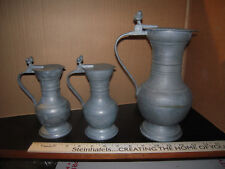 3 Antique French Pewter Wine Flagon Pitchers Double Acorn Thumb 19th C