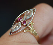 Original French Victorian Rose Cut Diamond & Ruby OpenWork Marquise Ring 18k SZ5