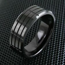 8mm Tungsten Ring Black Multi-Grooved Band Men's Jewelry