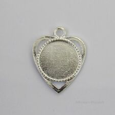 18mm Round Heart Silver Plated Cabochon (Cab) Drop Setting (#RB-C4022)