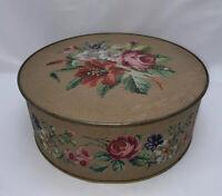 VINTAGE 1940s GUILDCRAFT NEW YORK Floral Textured Round Tin Storage Container