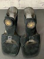 Linea Paolo Womens Black Strappy Block Heels Sandal Size 9.5 W Suede Open Sq Toe
