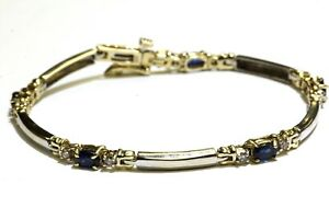 "14k white yellow gold .30ct diamond sapphire gemstone tennis bracelet 10.1g 7"""