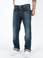 Nudie Herren Regular Slim Fit Bio Denim Jeans Hose  Slim Jim Light Darkness