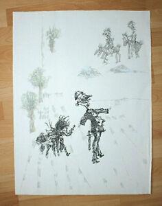 Ferenc Banga Handzeichnung Federzeichnung Original Ungarn