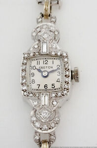 Antique Art Deco Platinum Diamond Croton Ladies Cocktail Wrist Watch
