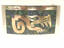 Mixed Metal Belt Buckle, Panther Motif, Stone Inlay, Brass,Copper,Silver, Mexico