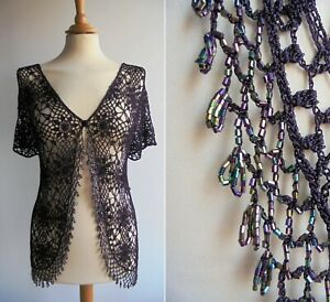 COUNTRY CASUALS Burgundy Crochet Bolero Cardigan Top Beaded Size M/L UK16 approx