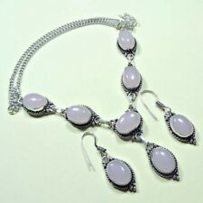 925 SILVER PLATED ROSE QUARTZ NECKLACE & EARRING SET Jewelry 50 GRAMS 5