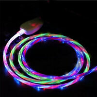 LED flowing Light Up USB Sync Charger Data Cable Charging Cord For Type-C iPhone