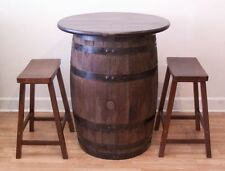 """Whiskey Barrel Table w/ 30"""" Real Wood Table Top - (2) 24""""  Bar Stools"""