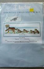 "Cross Stitch Kit Cute Tiger Tigress & Cubs 4.25"" x 11.75"" Follow Me Anchor Coats"
