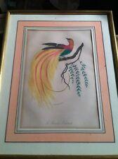 Oiseau gravure ancienne Le Paradis Eclatant encadrement doré marquise saumon